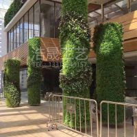 草皮包裹室内柱子 装饰屋里仿真植物 室内还原生态绿色环境