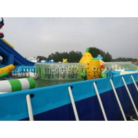 广东阳江大型支架游泳池充气城堡蹦床产品特卖