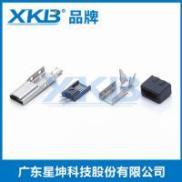 供应台湾星坤公头夹板式 180度 MICRO 5P公头 MICRO母牛角插头