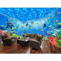 大型3d海底世界主题壁纸游泳馆4d海洋鱼海豚主题酒店墙纸幼儿园儿童房壁画