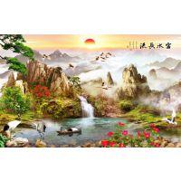 高端墙纸壁画 ,3D定制图案, 整张无缝墙布。墙体手绘 汇美