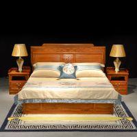 东阳和谐红木供应红木家具 卧室家具 古典中式刺猬紫檀五福系列双人床三件套组合