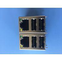 RJ45 网口+双层A母2.0 90度插板DIP带黄绿灯 8P8C黑色胶芯