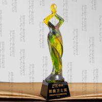 泰州人物造型奖杯,可开模定做琉璃奖杯,订购供应链质量专项奖杯