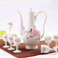 粉彩山水酒具 日本酒壶 酒盅釉上彩 创意陶瓷温酒器日式 酒杯