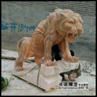 晚霞红石雕老虎雕塑生肖虎动物摆件