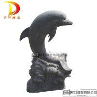 大理石喷水海豚动物喷水摆件水池喷泉装饰石雕海豚园林广场装饰