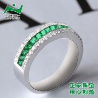 祖母绿戒指18K白金 广州正东珠宝首饰厂 国内知名品牌代工厂