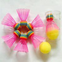 彩 色 塑 料 羽 毛 球 EVA 彩 虹 球 头 儿 童 玩 具 羽 毛 球