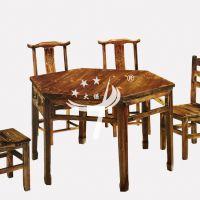 松木六角餐桌 农家乐火烧餐桌椅 现代中式碳烧木大排档餐桌椅组合