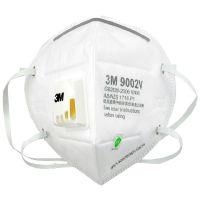 3M 9002V KN90带呼吸阀折叠式防颗粒口罩(头戴式)