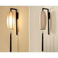 中式木头羊皮布艺壁灯 走廊过道玄关灯 铁艺壁灯