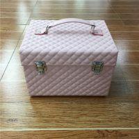化妆箱PU皮手提化妆箱彩妆跟妆工具箱美容美甲工具箱抽屉美甲指甲油化妆箱