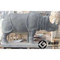 石雕犀牛雕塑 大理石犀牛雕刻厂家
