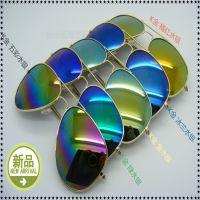 厂家直销太阳镜3026批发 经典反光彩膜太阳镜  复古炫彩潮人墨镜