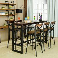 吴氏诚品 吧台桌椅组合铁艺实木高脚凳咖啡厅loft餐桌