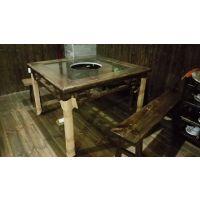 深圳辛戌未厂家定制碳烧桌子户外实木桌复古碳化实木桌椅