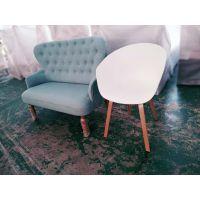 北欧简约布艺沙发咖啡店甜品奶茶店实木卡座沙发