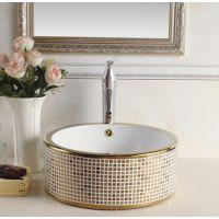 浴室卫浴阳台欧式金色台上彩色陶瓷洗手盆洗脸盆