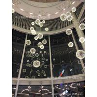 吊饰厂家批发国际商业广场大堂中庭吊饰时尚轻便发光圆球中庭吊饰