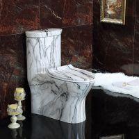 一体式陶瓷卫浴彩色复古黑白新款座便器坐厕
