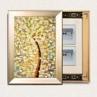 推拉式电表箱装饰画 电箱遮挡 特殊尺寸竖幅有框装饰画 推拉画 静物画