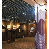 弧形木纹铝方通吊顶天花及墙面装修铝方通