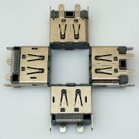 立式DP 20P母座H=15.2mm 立式贴片DP插座四脚DIP+SMT 加防尘胶塞 创粤