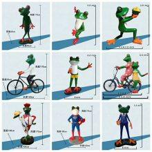 玻璃钢人形大牛蛙雕像树脂彩绘骑自行车青蛙情侣雕塑男女蛙骑车卡通牛蛙公仔主题餐厅迎宾招财落地摆件