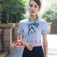 女士短袖V领衬衫 暗斜纹商务修身白衬衣白领职业装