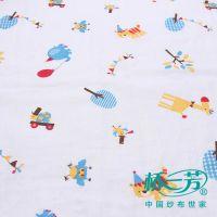 桥一芳纯棉双层印花时装纱布,100%棉其它婴童服装纱布