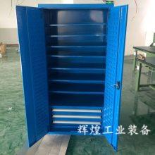 深圳 辉煌HH-259 多抽屉带层板物料柜 带锁带轮子双开门工具柜