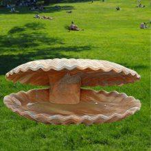 石雕海螺贝壳牡蛎晚霞红海洋水景动物园林景观小型流水喷泉摆件曲阳万洋雕刻厂家定做