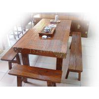 实木火锅桌_饭店餐桌椅_老榆木餐桌椅_火锅店餐桌椅
