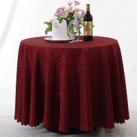 威思丁 酒店主题餐厅涤纶圆桌布高档提花台布 压花簇菊餐圆形桌布定做