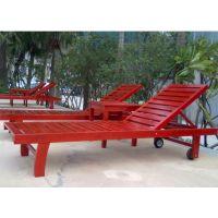 天津泳池沙滩椅 廊坊休闲躺椅 户外实木沙滩躺床 盛林制造