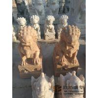 石雕石狮子雕塑晚霞红狮子雕塑仿天安门石狮雕塑户外景观镇宅摆件 玖坊雕塑