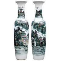 西安锦绣前程陶瓷大花瓶 开业庆典工艺品 一米五 1.7米规格彩色山水吉祥落地花瓶批发