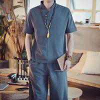 夏季亚麻套装男装棉麻短袖t恤中国风V领宽松韩版大码九分裤两件套