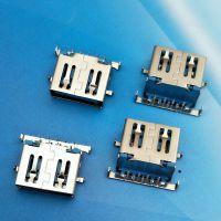 USB3.0 沉板母座 9P 斜口USB插座 斜边3.0插座 超薄沉板DIP 蓝胶