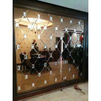江苏无锡厂家定制 欧式风格餐厅背景墙 茶镜加钻六边形拼镜