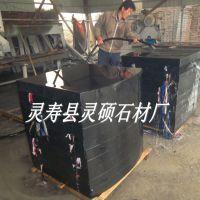 中国黑异型压顶石定做 黑色石材2号 毛光板批发