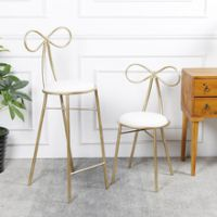 单人梳妆台蝴蝶结椅 北欧简约休闲金属餐桌椅吧台椅