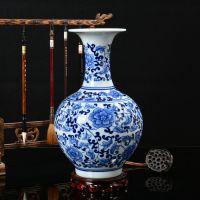 新款景德镇陶瓷花瓶 手绘五彩缠枝莲落地大花瓶 中式装饰三件套花瓶摆件