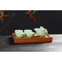 知竹茶具套装-龙泉青瓷,包装大气上档次,瓷器清新亮丽有风格