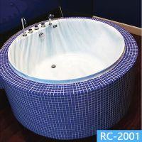 亚力克无裙独立式圆形马赛克家用成人泡澡大浴缸