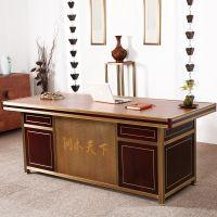商业大班台单人现代简约总裁主管实木家具铜艺高端定制