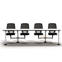 供应批发深圳众晟家具ZS-PT001可360度旋转及自动归位桌椅一体化会议培训桌椅