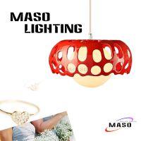 玛斯欧灯饰蘑菇简约设计镂空树脂吊灯黄光暖色酒吧餐厅适用灯具红色小款MS-P1013
