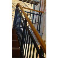 四平锌钢楼梯护栏HC,四平组装阳台栏杆Q235,仿木纹楼梯扶手,喷塑靠墙扶手,